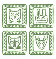 Tribal style animal stamps set mayan ornamental vector