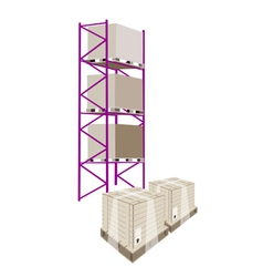 Cargo shelf with shipping box in plastic wrap vector