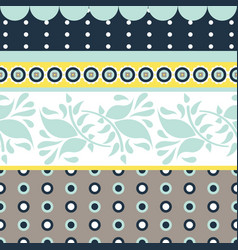Folk floral gray and blue seamless pattern vector