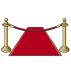 Red carpet and rope barrier vector