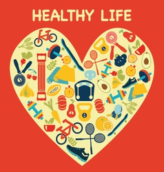 Healthy lifestyle background in heart shape - illu vector