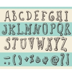 Alphabet original doodle engraved hand drawn vector