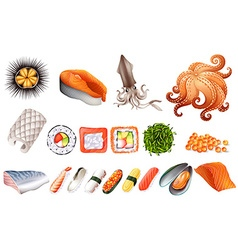 Sushi and seafood set vector