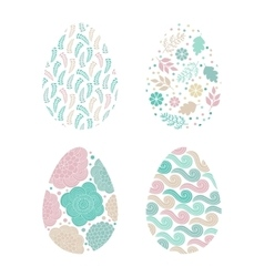 Set of easter eggs with patterns vector