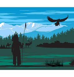 American indian on the pine wood and snow mountain vector