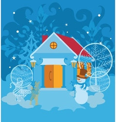 Santa house on winter landscape vector