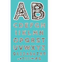 Sketch Paper Craft Font vector image