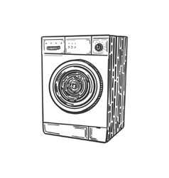 Washing machine engraving style vector