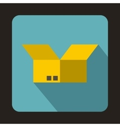 Opened cardboard box icon flat style vector