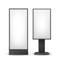 Black white stands pillars for indoor advertising vector