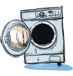 broken washing machine vector image vector image