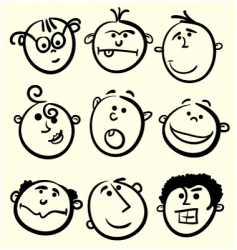 cartoon face collection vector image vector image