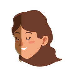 Character face woman close eyes shadow vector