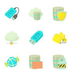 data storage icons set cartoon style vector image vector image