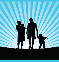 Family hapy with children walking in nature vector