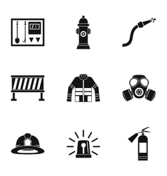 Fiery profession icons set simple style vector