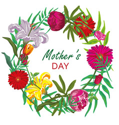 Floral round frame card design mother day vector