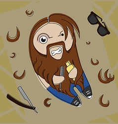 Funny hairy hipster vector