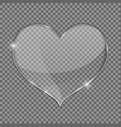 Glass heart on transparent background vector