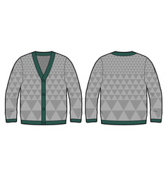 grey knitted cardigan vector image vector image