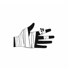 Injured hand wrapped in bandage icon simple style vector