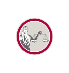 Lady Blindfolded Holding Scales Justice Circle vector image vector image