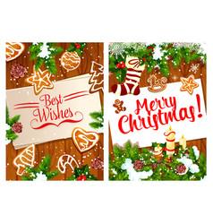 merry christmas holidays greeting card vector image vector image