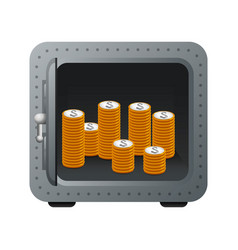 Metal strong box with coins cash money vector