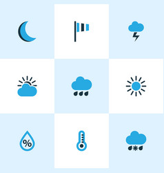 Nature colored icons set collection of sunny vector