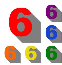 Number 6 sign design template element set of red vector