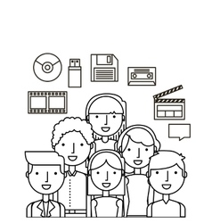 People and multimedia design vector