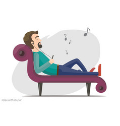 relax with music vector image vector image