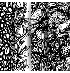 Set of fantasy abstract floral patterns vector image vector image