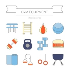 Set of modern flat line icons sports equipment vector image