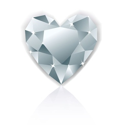 Shiny heart diamond with reflection vector image vector image