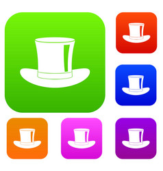 silk hat set color collection vector image vector image