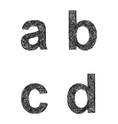Sketch font set - lowercase letters a b c d vector