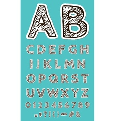 Sketch Paper Craft Font vector image