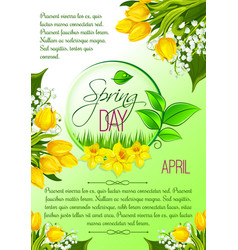 spring day greeting poster tulip flowers vector image vector image