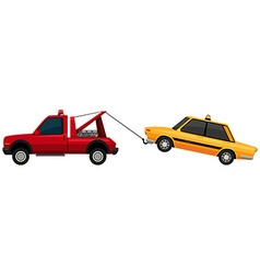 Tow truck pulling yellow taxi vector