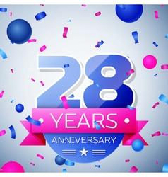 Twenty eight years anniversary celebration on grey vector