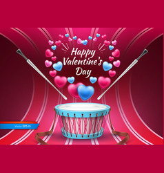 Valentine day card with drum realistic vector