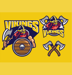 viking mascot set with axes amd shield vector image vector image