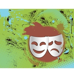 vintage theater masks emblem in color vector image