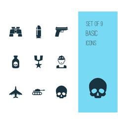 warfare icons set collection of aircraft panzer vector image vector image