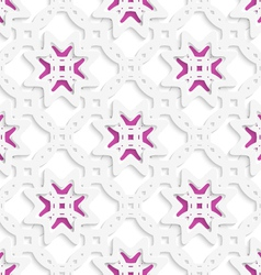 White perforated ornament layered with stars vector image vector image