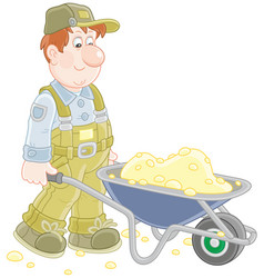 Worker with a wheelbarrow vector