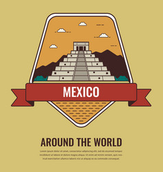 world landmarks mexico travel and tourism vector image