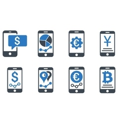 Mobile sales report flat icons vector