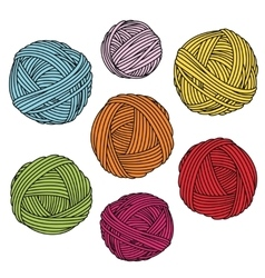 Colorful yarn balls wool skeins vector